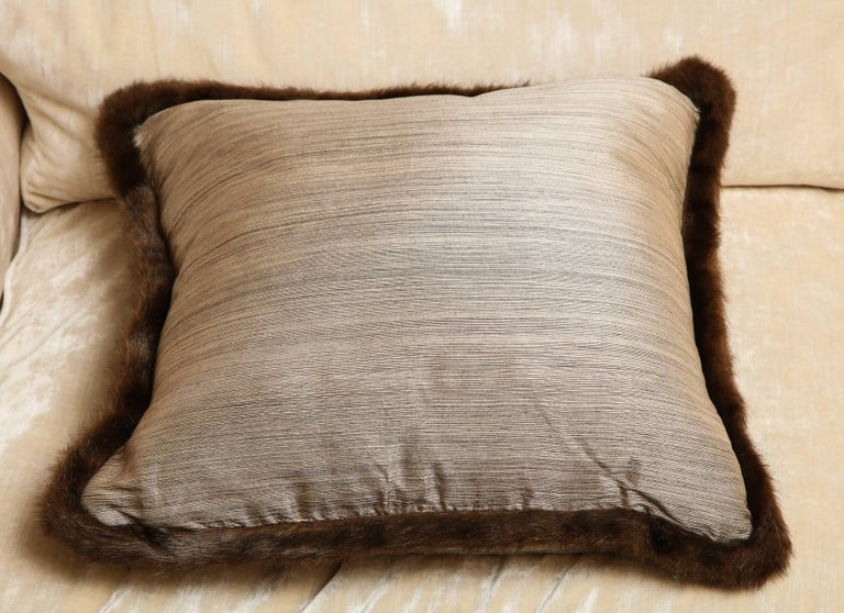 Silk and Fur Anglo-Japanese Pillow For Sale 1