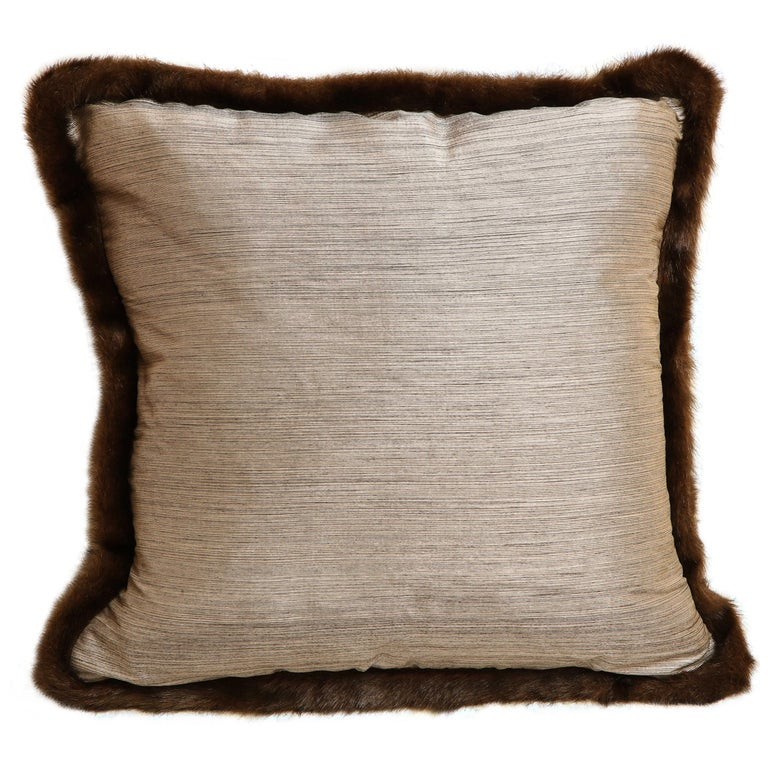 Pair of Silver and Bronze Silk and Fur Anglo-Japanese Pillow For Sale 1