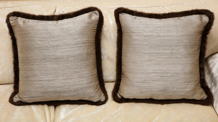American Pair of Silver and Bronze Silk and Fur Anglo-Japanese Pillow For Sale