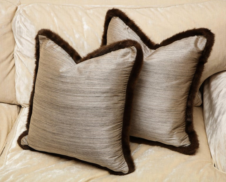 Pair of Silver and Bronze Silk and Fur Anglo-Japanese Pillow In New Condition For Sale In New York, NY