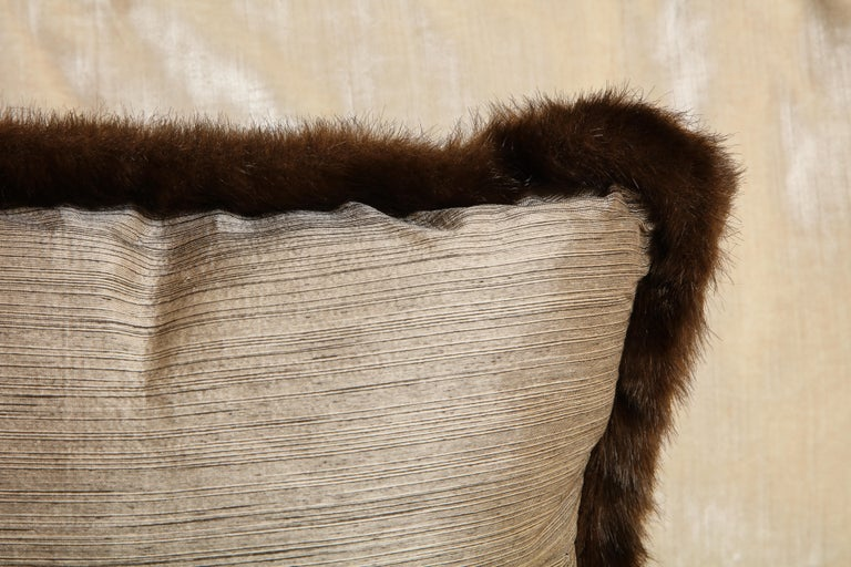 Pair of Silver and Bronze Silk and Fur Anglo-Japanese Pillow For Sale 2