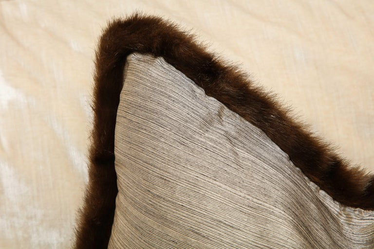 Pair of Silver and Bronze Silk and Fur Anglo-Japanese Pillow For Sale 4