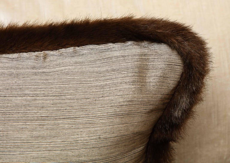 Pair of Silver and Bronze Silk and Fur Anglo-Japanese Pillow For Sale 5