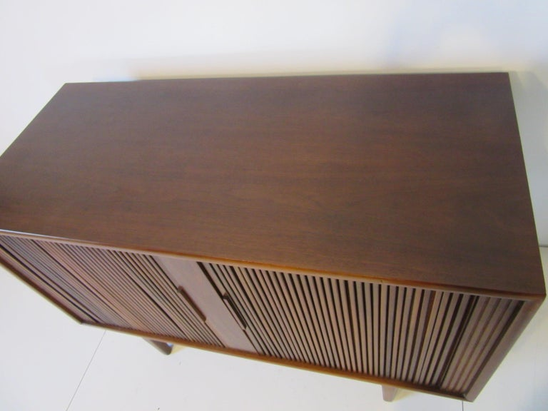 American Walnut Tambour Door Media or Stereo Cabinet For Sale