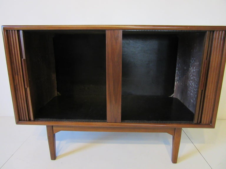 20th Century Walnut Tambour Door Media or Stereo Cabinet For Sale