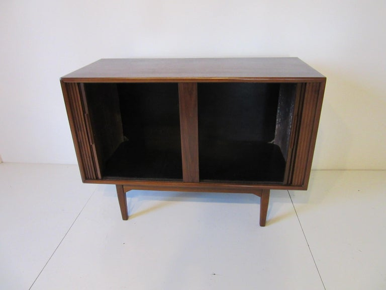 Walnut Tambour Door Media or Stereo Cabinet For Sale 1