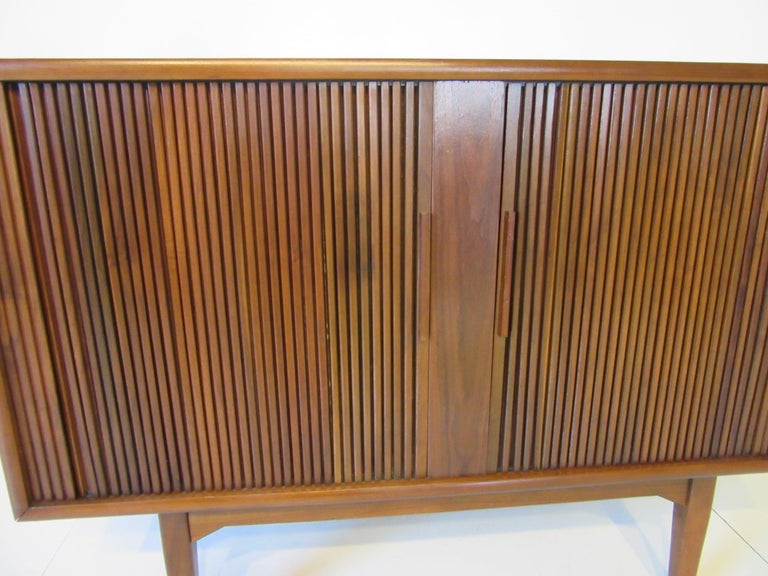 Walnut Tambour Door Media or Stereo Cabinet For Sale 2
