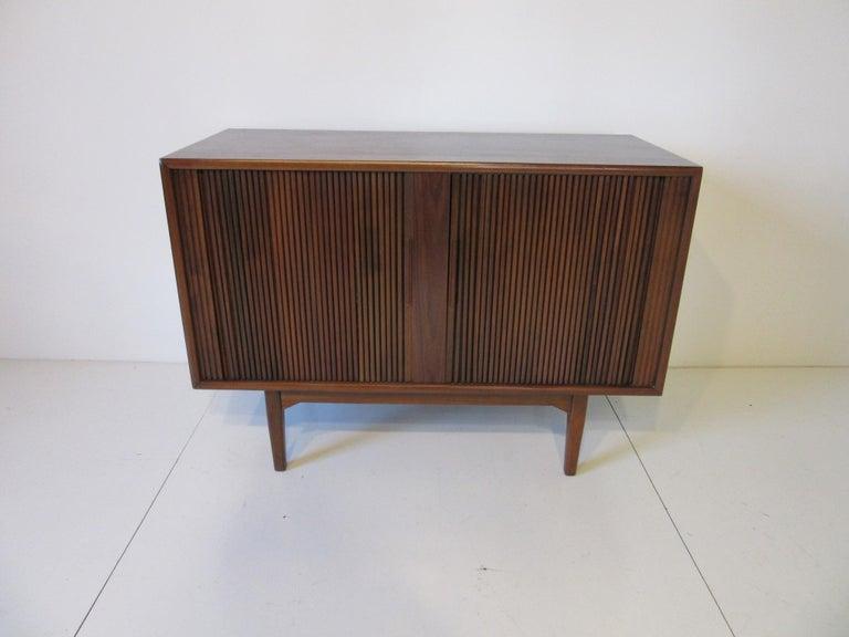 Walnut Tambour Door Media or Stereo Cabinet For Sale 3