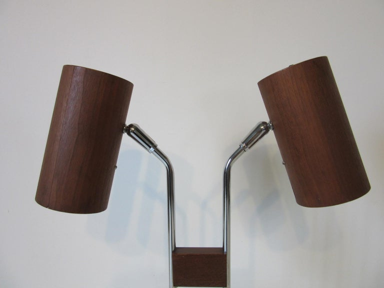 20th Century Walnut and Chrome Table Lamp by George Kovacs For Sale