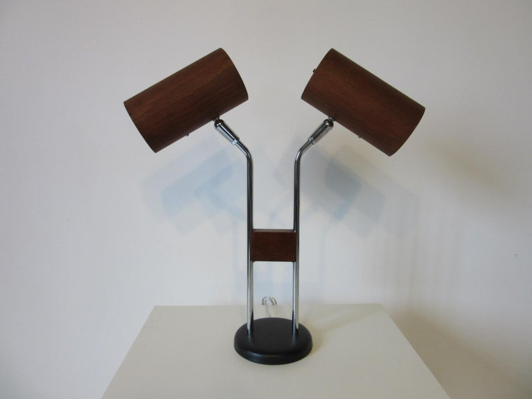 Walnut and Chrome Table Lamp by George Kovacs For Sale 1