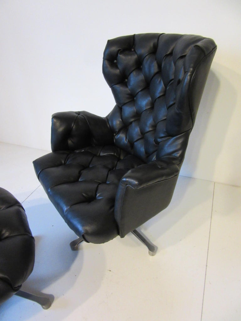 20th Century 1960s-1970s Black Tufted Lounge Chair with Ottoman For Sale