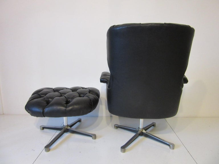 Mid-Century Modern 1960s-1970s Black Tufted Lounge Chair with Ottoman For Sale
