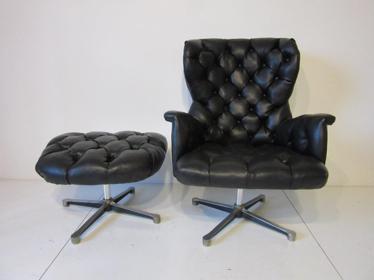 American 1960s-1970s Black Tufted Lounge Chair with Ottoman For Sale