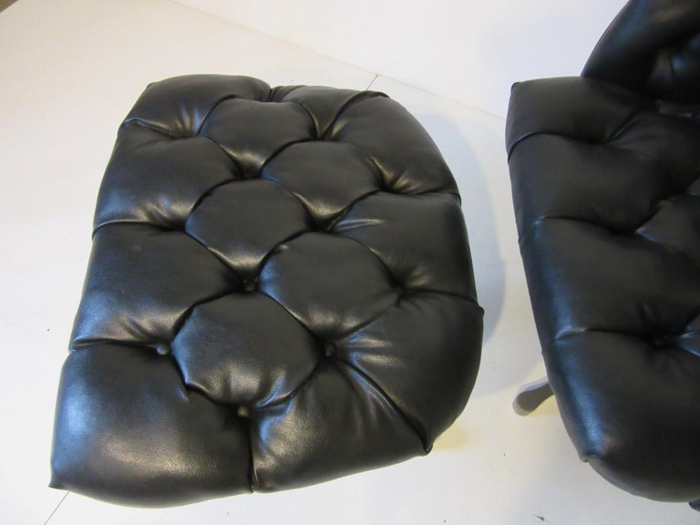 1960s-1970s Black Tufted Lounge Chair with Ottoman In Good Condition For Sale In Cincinnati, OH