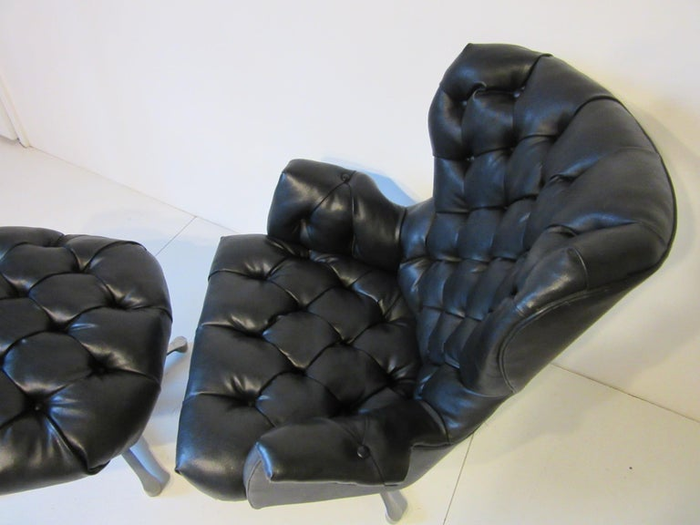 1960s-1970s Black Tufted Lounge Chair with Ottoman For Sale 1