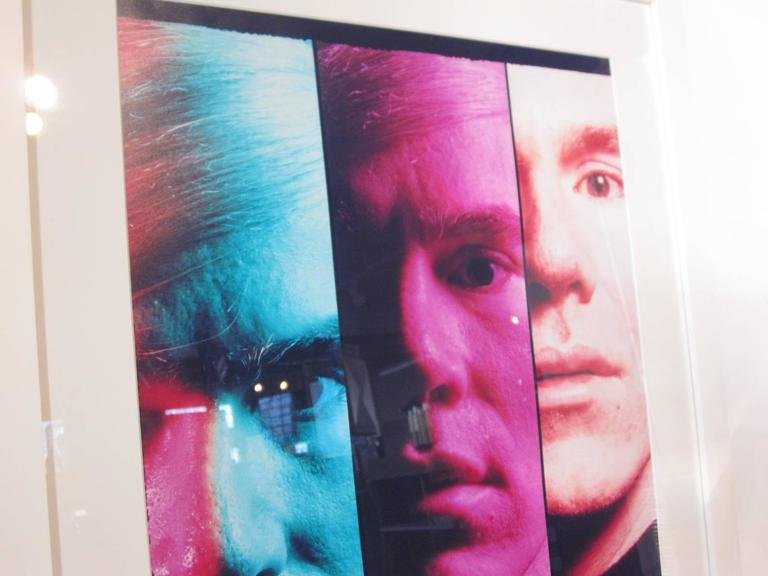 Andy Warhol portrait taken in 1968 by master photographer and printer Philippe Halsman (1906-1979) and in 1989 an edition of 100 portfolio of eight color chromogenic prints were done which sold out. This print is a proof from the artist archive.