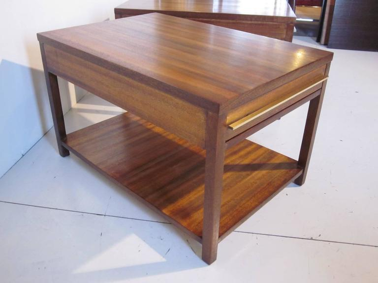 Brass And Indonesian Mahogany End Tables Or Nightstands At 1stdibs