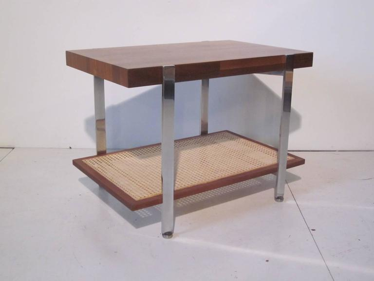 20th Century Milo Baughman Styled Walnut, Chrome and Caned Side Table  For Sale