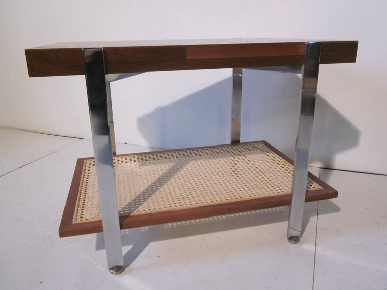 Milo Baughman Styled Walnut, Chrome and Caned Side Table  In Excellent Condition For Sale In Cincinnati, OH
