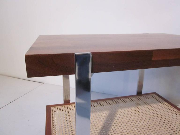 American Milo Baughman Styled Walnut, Chrome and Caned Side Table  For Sale