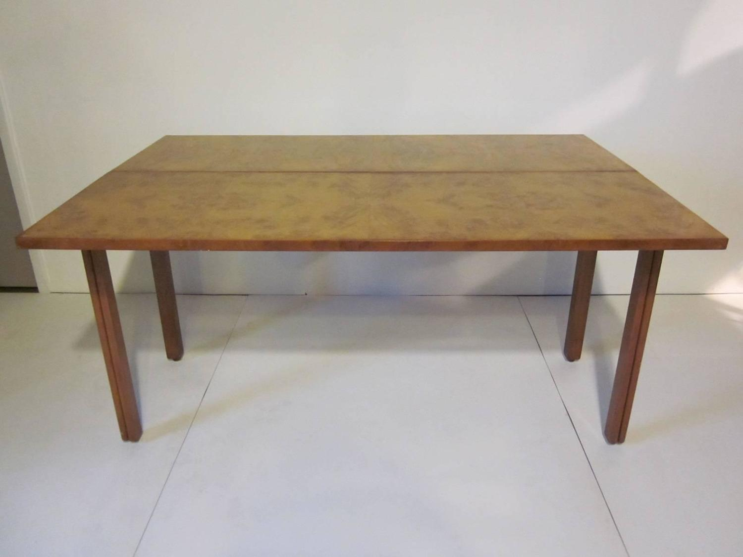 Burl Wood Console And Flip Top Dining Table At 1stdibs