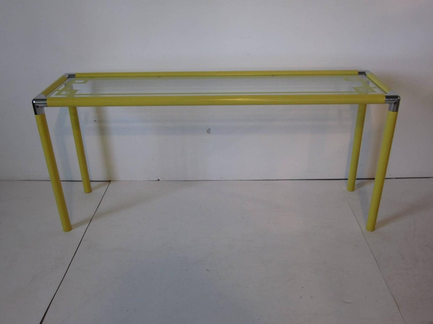 1970s yellow metal and glass console table at 1stdibs for Sofa table yellow
