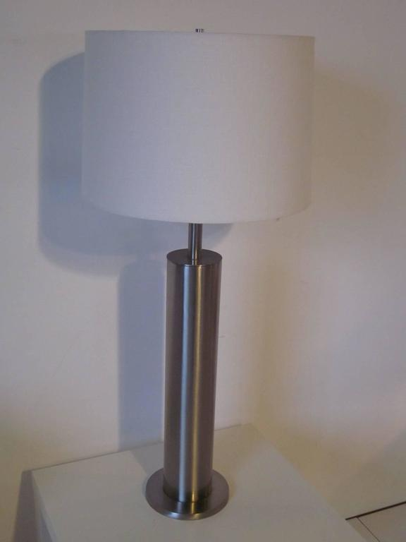 Laurel Brushed Stainless Table Lamp In Good Condition For Sale In Cincinnati, OH