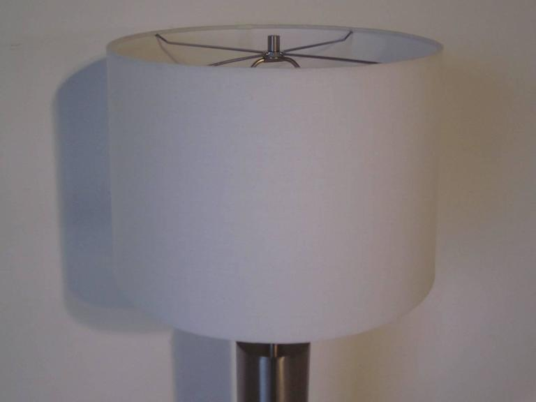 Mid-Century Modern Laurel Brushed Stainless Table Lamp For Sale