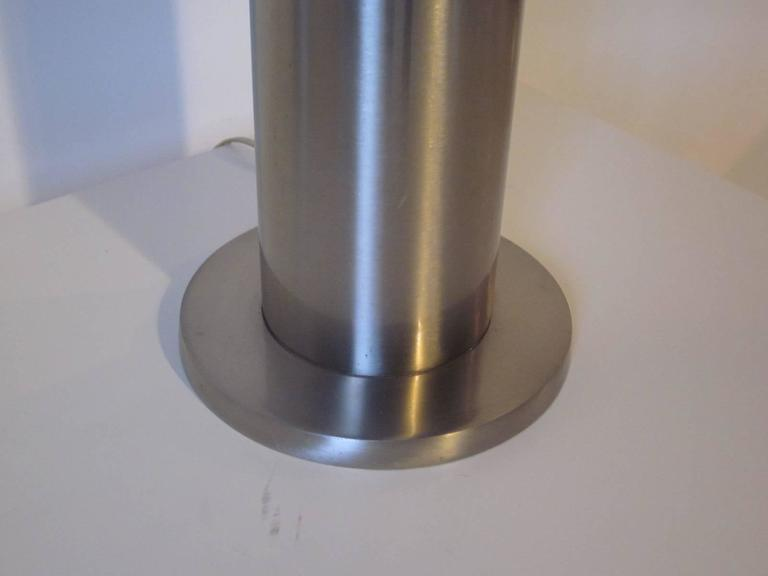 American Laurel Brushed Stainless Table Lamp For Sale