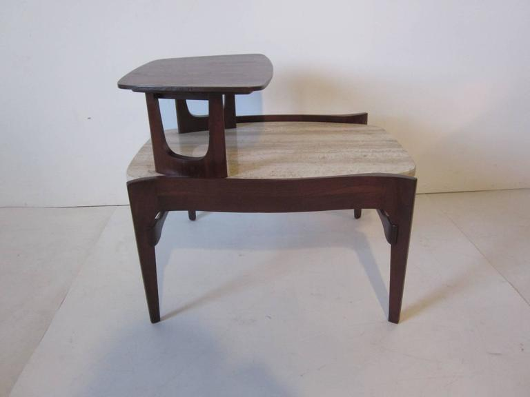 Mid-Century Modern Travertine and Sculptural Walnut End / Side Table for Gordon Furniture Company For Sale