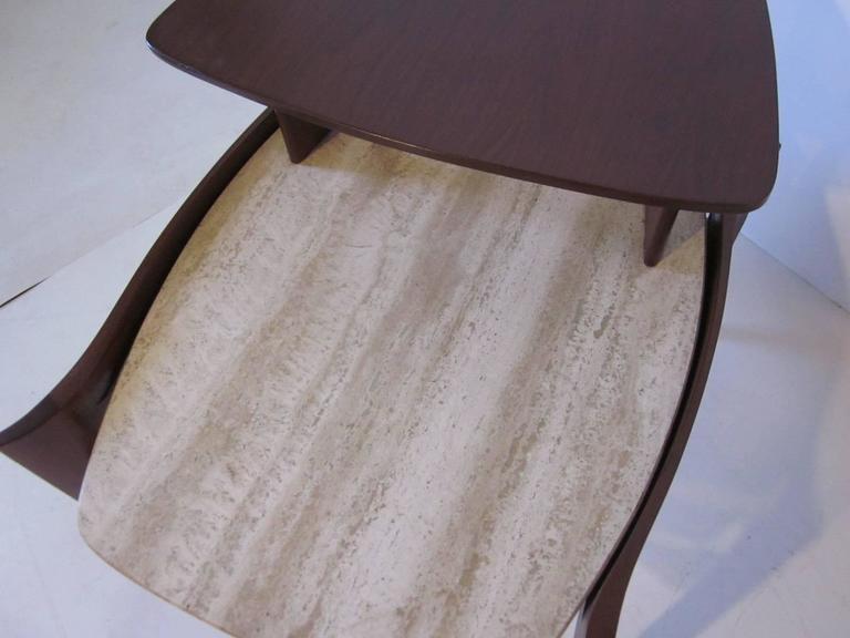 American Travertine and Sculptural Walnut End / Side Table for Gordon Furniture Company For Sale