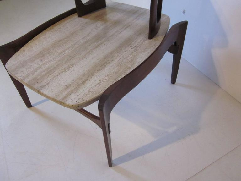 Travertine and Sculptural Walnut End / Side Table for Gordon Furniture Company In Good Condition For Sale In Cincinnati, OH