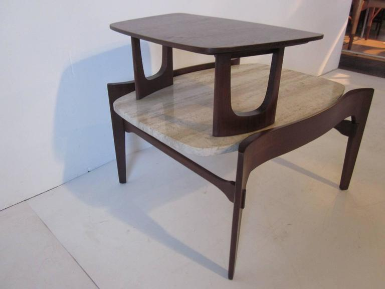 20th Century Travertine and Sculptural Walnut End / Side Table for Gordon Furniture Company For Sale