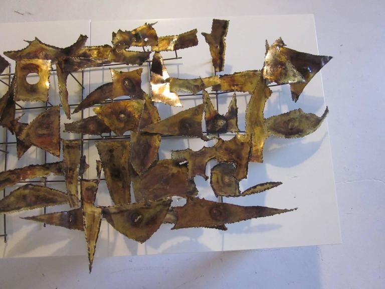 American Curtis Jere Styled Brutalist Wall Sculpture For Sale