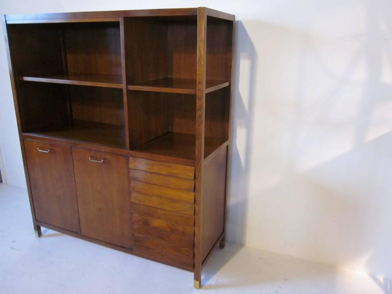 American of Martinsville Tall Walnut Cabinet Server, Bookcase or China Hutch 2