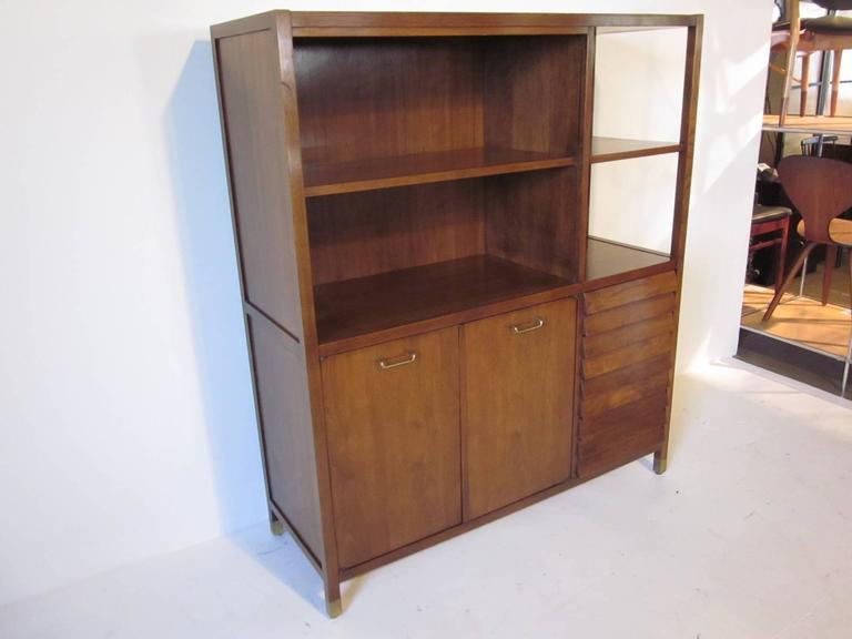 American of Martinsville Tall Walnut Cabinet Server, Bookcase or China Hutch 3