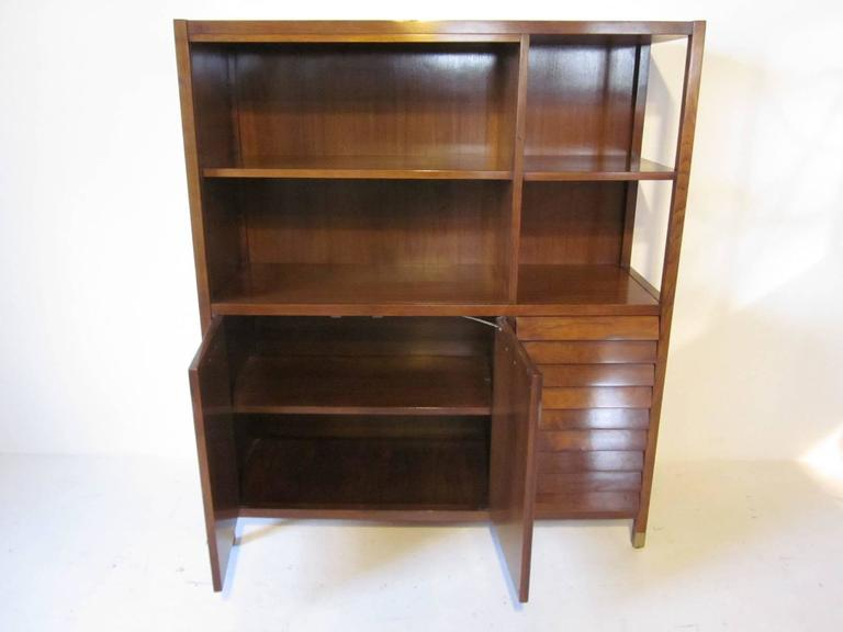 American of Martinsville Tall Walnut Cabinet Server, Bookcase or China Hutch 4