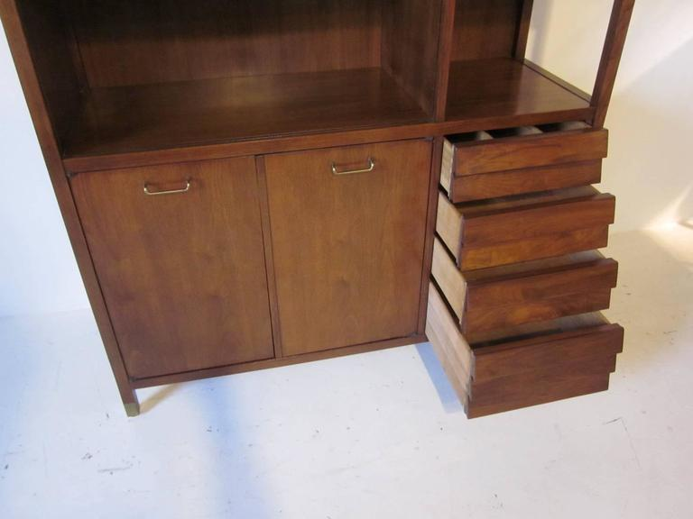 American of Martinsville Tall Walnut Cabinet Server, Bookcase or China Hutch 5