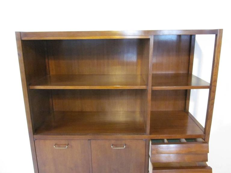 American of Martinsville Tall Walnut Cabinet Server, Bookcase or China Hutch 6