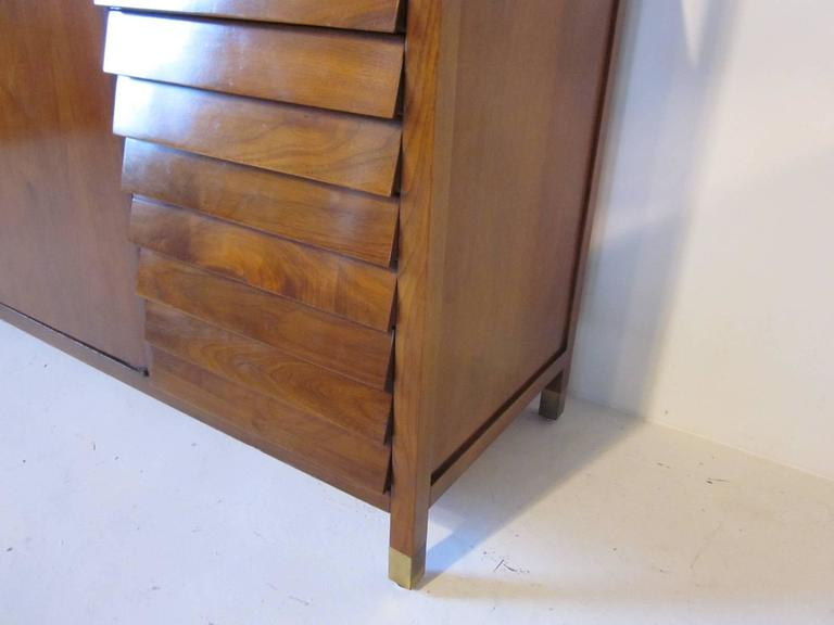 American of Martinsville Tall Walnut Cabinet Server, Bookcase or China Hutch 8