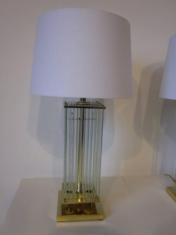 Sciolari Brass And Glass Rod Table Lamps At 1stdibs