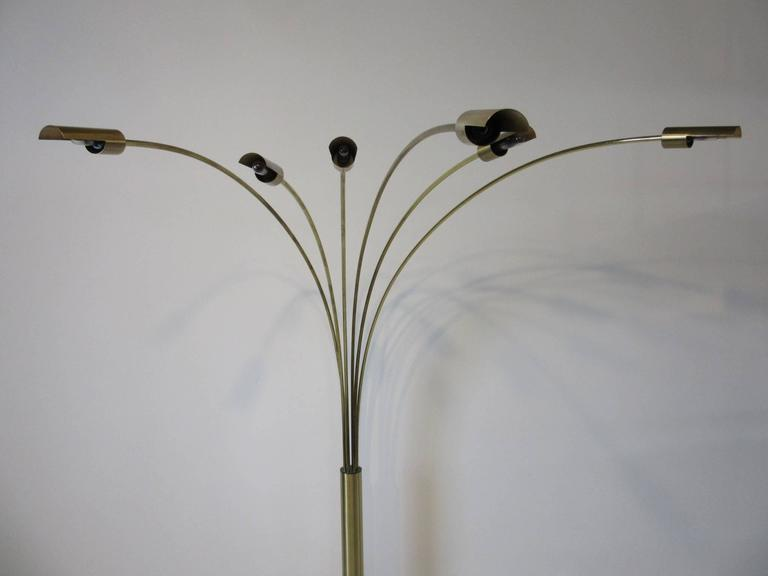 Italian Brushed Brass and Marble Arc Floor Lamp in the Style of Angelo Lelli In Good Condition For Sale In Cincinnati, OH