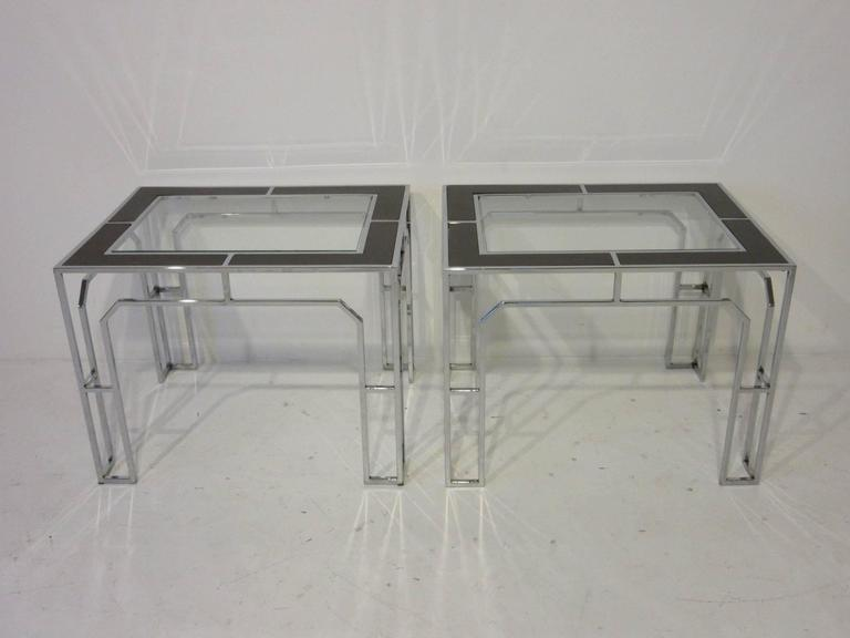 A Pair Of Baughman Chrome Framed Side Tables With Gl And Wood Inserted Top The