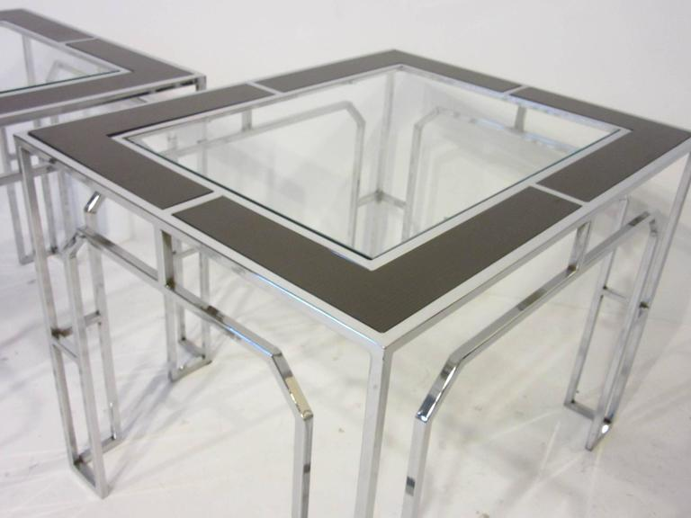Milo baughman chrome glass and wood side tables for sale