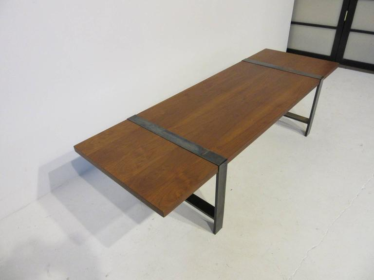 Walnut And Dark Nickel Legged Coffee Table For Sale At 1stdibs