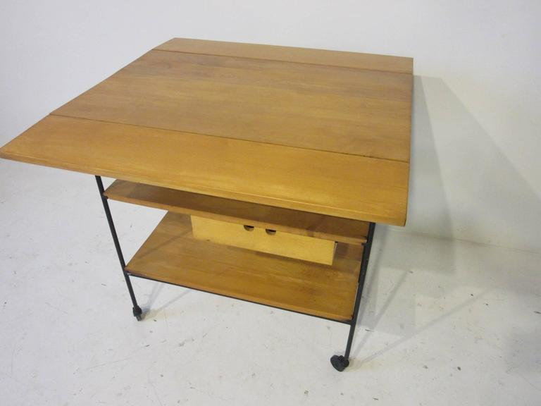 Mid-Century Modern Paul McCobb Bar or Serving Cart with Folding Top For Sale