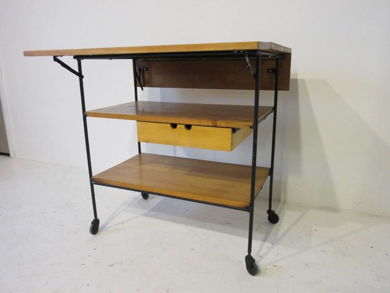 American Paul McCobb Bar or Serving Cart with Folding Top For Sale