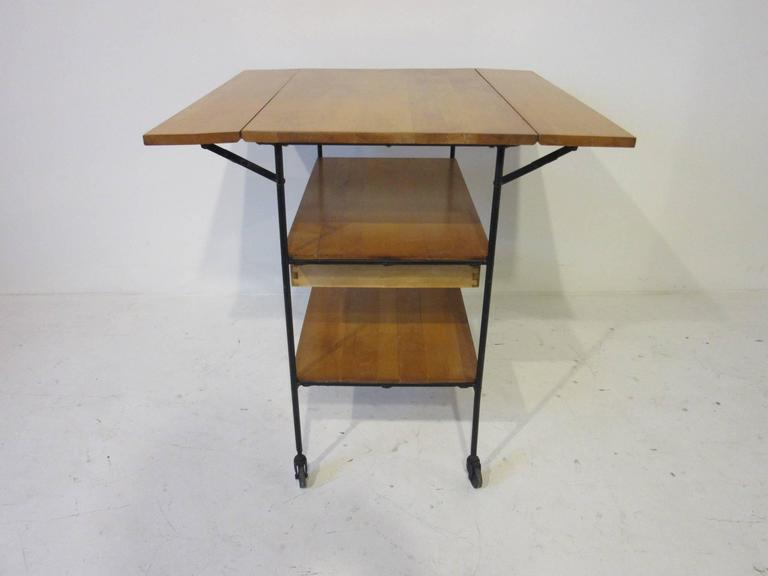 Paul McCobb Bar or Serving Cart with Folding Top In Good Condition For Sale In Cincinnati, OH