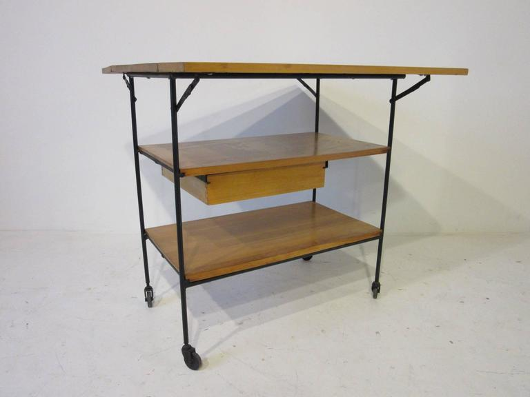 Paul McCobb Bar or Serving Cart with Folding Top For Sale 1