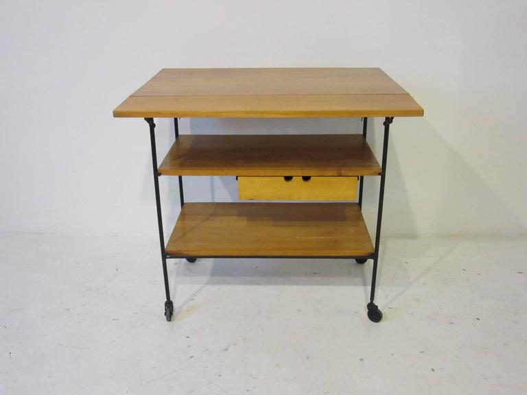 Paul McCobb Bar or Serving Cart with Folding Top For Sale 2